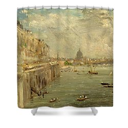 Somerset House Terrace From Waterloo Bridge Shower Curtain by John Constable