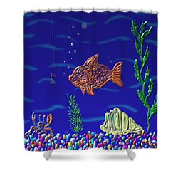 Shower Curtain featuring the painting Something Fishy by Kevin Caudill