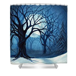 Something In The Air Tonight - Winter Moonlight Forest Shower Curtain