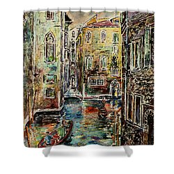 Shower Curtain featuring the painting Somewhere In Venice by Alfred Motzer