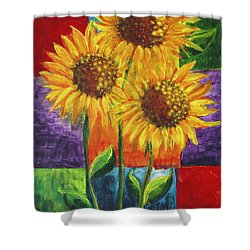 Shower Curtain featuring the painting Sonflowers I by Holly Carmichael