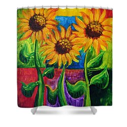 Shower Curtain featuring the painting Sonflowers II by Holly Carmichael
