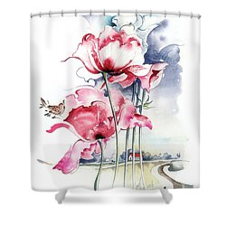 Shower Curtain featuring the painting Song About The Earth by Anna Ewa Miarczynska