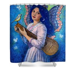 Songbird For A Blue Muse Shower Curtain
