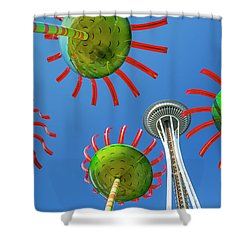 Shower Curtain featuring the photograph Sonic Bloom In Seattle Center by Adam Romanowicz