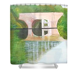 Sonning Bridge In Autumn Shower Curtain