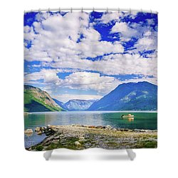 Shower Curtain featuring the photograph Soreimsfjorden by Dmytro Korol