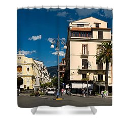 Sorrento Italy Piazza Shower Curtain by Sally Weigand