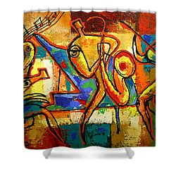Soul Jazz Shower Curtain by Leon Zernitsky