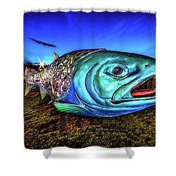 Soul Salmon During Blue Hour Shower Curtain by Rob Green