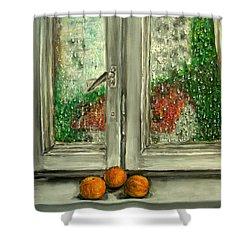 Sound Of Rain  Oil Painting Shower Curtain by Natalja Picugina
