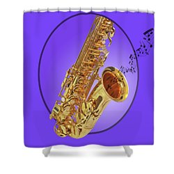 Sounds Of The Sax In Purple Shower Curtain by Gill Billington