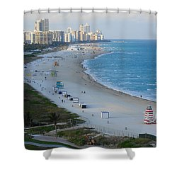 South Beach At Its Best Shower Curtain by Margaret Bobb