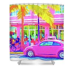 South Beach Pink Shower Curtain by Dennis Cox WorldViews