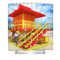 South Beach Station Shower Curtain by Dennis Cox WorldViews