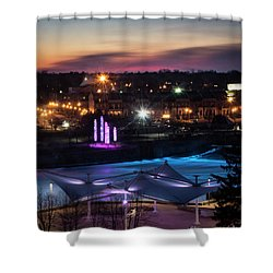 South Bend River Sunrise Shower Curtain