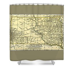 South Dakota Antique Map 1891 Shower Curtain