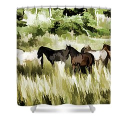 Shower Curtain featuring the mixed media South Dakota Herd Of Horses by Wilma Birdwell