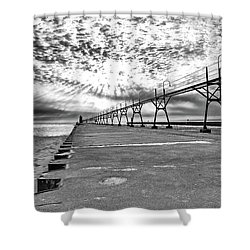 South Haven Pier Wide Angle Shower Curtain