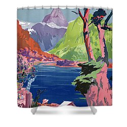 South Island New Zealand Vintage Poster Restored Shower Curtain