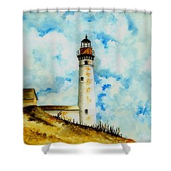 South Manitou Island Lighthouse Shower Curtain by Michael Vigliotti
