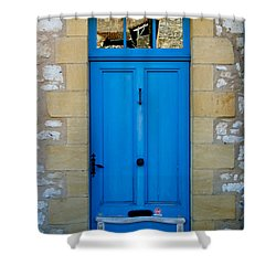 South Of France Rustic Blue Door  Shower Curtain by Georgia Fowler