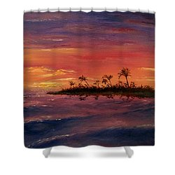 Shower Curtain featuring the painting South Pacific Atoll by Jack Skinner