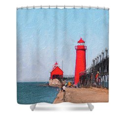 South Pier Of Grand Haven Shower Curtain