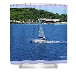 Shower Curtain featuring the photograph South Sea Sail by Phyllis Kaltenbach