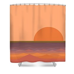 Shower Curtain featuring the digital art South Sea Sunrise by Val Arie