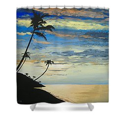 Shower Curtain featuring the painting South Sea Sunset by Norm Starks