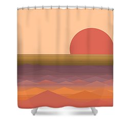 Shower Curtain featuring the digital art South Seas Abstract Sunrise by Val Arie