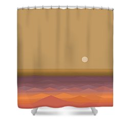 Shower Curtain featuring the digital art South Seas Sunrise - Vertical by Val Arie