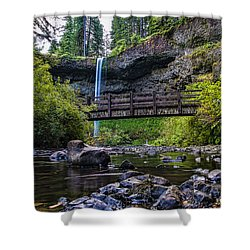 South Silver Falls With Bridge Shower Curtain by Darcy Michaelchuk