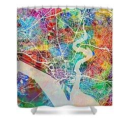 Southampton England City Map Shower Curtain
