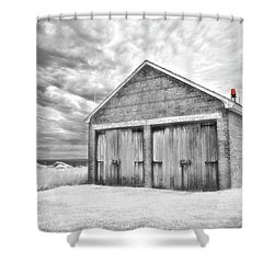 Southeast Light Boathouse- Black And White Shower Curtain