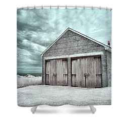 Southeast Light Boathouse Shower Curtain