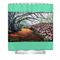 Shower Curtain featuring the painting Southern Charm Oak And Azalea by Patricia L Davidson