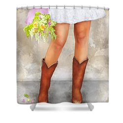 Southern Flower Girl In Her Fancy Boots Shower Curtain