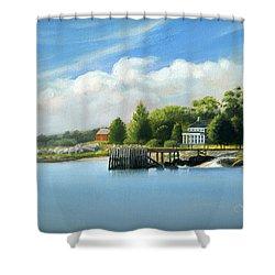 Southport Harbor Shower Curtain by John Deecken
