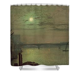 Southwark Bridge Shower Curtain by John Atkinson Grimshaw