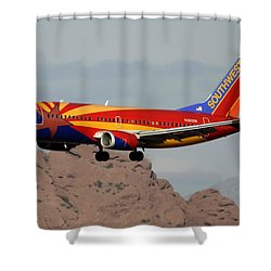 Southwest Boeing 737-3h4 N383sw Arizona Phoenix Sky Harbor December 20 2015  Shower Curtain by Brian Lockett