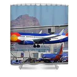 Southwest Boeing 737-7h4 N230wn Colorado One Phoenix Sky Harbor January 24 2016 Shower Curtain by Brian Lockett