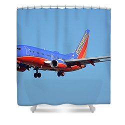 Southwest Boeing 737-7h4 N238wn Phoenix Sky Harbor January 17 2016 Shower Curtain by Brian Lockett