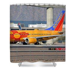 Southwest Boeing 737-7h4 N781wn New Mexico Phoenix Sky Harbor January 17 2016 Shower Curtain by Brian Lockett