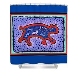 Shower Curtain featuring the digital art Southwest Desert Feral Cat by Vagabond Folk Art - Virginia Vivier
