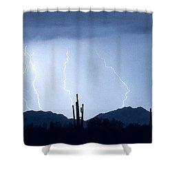 Southwest Desert Lightning Blues Shower Curtain by James BO  Insogna