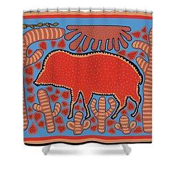 Shower Curtain featuring the digital art Southwest Desert Wart Hog by Vagabond Folk Art - Virginia Vivier