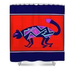 Shower Curtain featuring the digital art Southwest Mimbres Feline by Vagabond Folk Art - Virginia Vivier