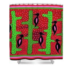 Shower Curtain featuring the digital art Southwest Saguaro Birds by Vagabond Folk Art - Virginia Vivier